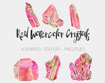 Crystal Clipart | Red Crystals | Watercolor Crystals | Watercolor Clipart