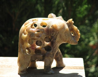Carved Soapstone Crystal Elephant - Trunk up good luck