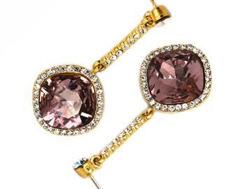 Sparkling crystal golden rim earrings