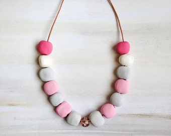 Unique Bead Jewellery//Polymer Clay Bead Necklace//pink Colored Beads//Bead Jewelry//xmas gift for daughter//Gift for Her