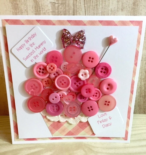 Handmade Button Cupcake Birthday Card Pink