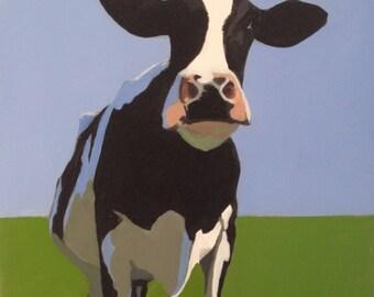 Cow art, cow painting, cow artwork, Holstein Freisian, animal art, cow wall art, farm animal