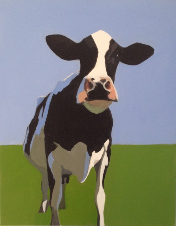Cow art, cow painting, cow artwork, Holstein Freisian, animal art, cow wall art, farm animal