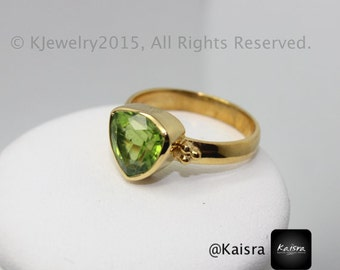 Peridot Ring , Sterling Silver Ring , Gemstone Ring