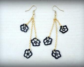Elegant Lace Earrings Boho Earrings Black with Gold Chains Flower Earrings Fashion Earrings Original Gift for Her Mothers Day Gift