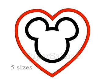 Mous with heart applique, Valentine Mickey applique design, Mickey applique design, Valentines Day applique