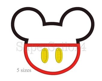 Mouse applique design,  Mickey Mouse applique