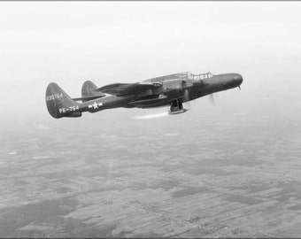 24x36 Poster . P-61 Black Widow Flight Test With Ramjet Burning 1947