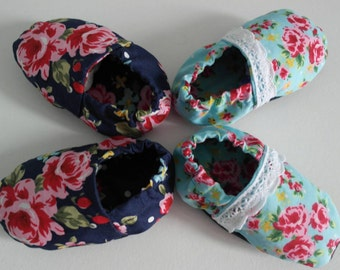 Soft fabric baby shoes, slip on baby shoes, floral baby shoes
