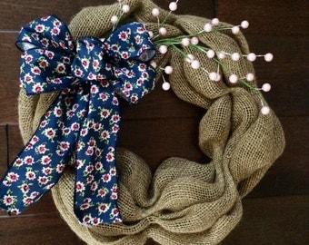 Small Spring Wreath - Mini Spring Wreath - Spring Burlap Wreath - Spring Wreath