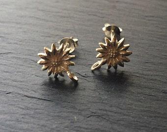 Sunflower Post Earrings Sterling Silver Post Earrings Flower Post Earrings Bright Silver One Pair