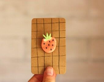 Strawberry Ceramic Brooch