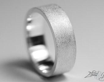 Simple White 14k Wedding Ring Brushed Men's 6mm Flat