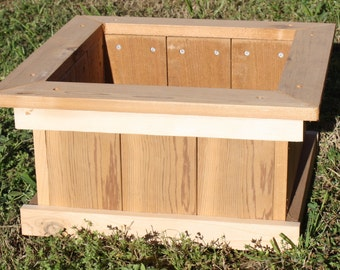 Brand New Open Base All Cedar Garden Planter Box, 18 inches square & 9 inches tall - Free Shipping
