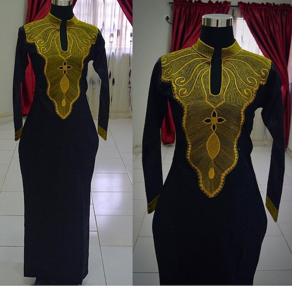 African embroidery dress by cococremecouturier