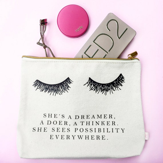 canvas printed makeup bag