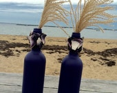 Pair of  Hand Painted Wine Bottle Vases Candlestick Holders Centerpiece Accent Upcycled w/ Wampum Marine Rope Ornamental Grass Purple