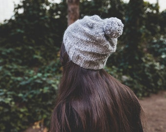 Slouchy beanie with pompon - Ready to ship