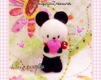 Pandi the sweet felted panda bear, kawaii panda plush w pink heart, cute felt panda