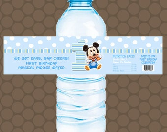 Baby Mickey Mouse 1st First Birthday Water Bottle Labels Wrappers Stickers Printable Uprint Digital DIY Instant Download