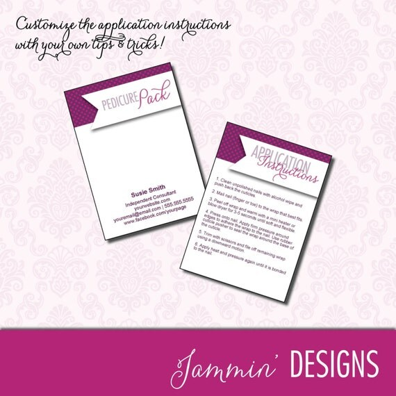 Pedicure Pack Mini Cards with Application Instructions - DIGITAL