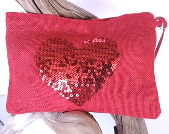 Pouch red burlap and heart in sequin