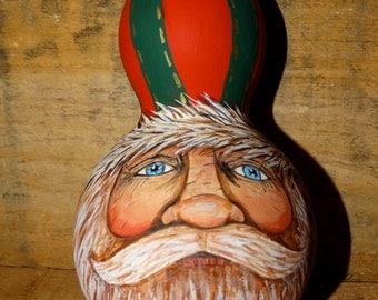 Hand painted, Santa Gourd