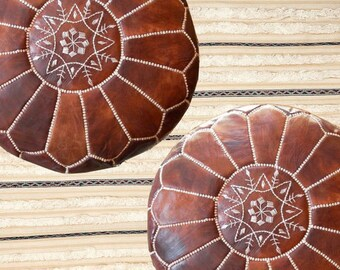 Hot PROMO / 2 x Moroccan Pouf Poufs Pouffe Pouffes 100% natural leather