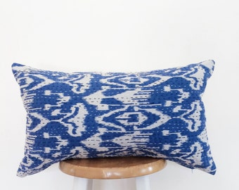 Authentic Vintage Kantha Quilt Ikat Decorative Lumbar Pillow- Cover Only
