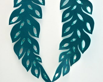 READY TO SHIP:  Hand-cut Leather Leaf Earrings in Turquoise Leather, Regal Purple Suede & Chatreuse Green Leather- Large