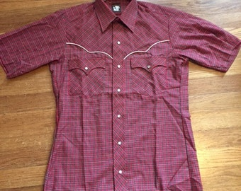 Vintage mens Western short sleeve plaid shirt/Pearlsnap/Size/Xs/Small
