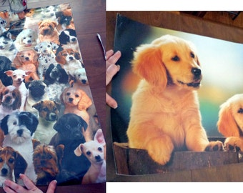2 Puppy Posters Puppy Collage and Golden Retrievers