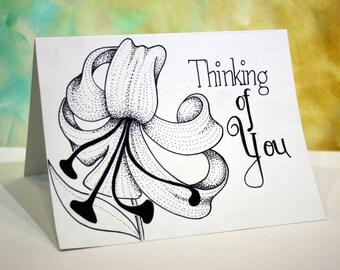 "Original Hand Drawn Greeting Card, ""Thinking Of You"" Greeting Card, Handmade Personalized Greeting Card, INK, Black & White by Alisa"