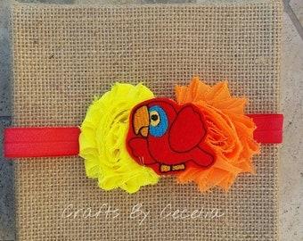 Parrot headband, orange and red summer headband, parrot head, Jimmy buffet, parrot feltie, summer headband, 3-6 month headband, baby gift