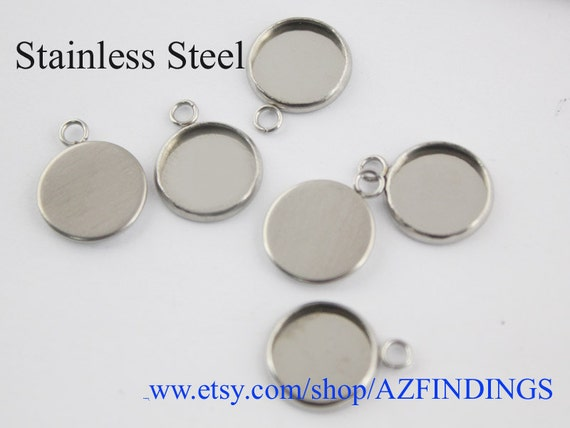 50pcs surgical stainless steel bezel blanks round bezel cups like this item mozeypictures Image collections