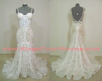 Replica Couture Nude and Ivory Open Back Trumpet Dress Pearl Beading Belt Chapel Train Wedding Dress Gown