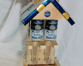 Double Beer Bottle Bird Feeder with Can Roof
