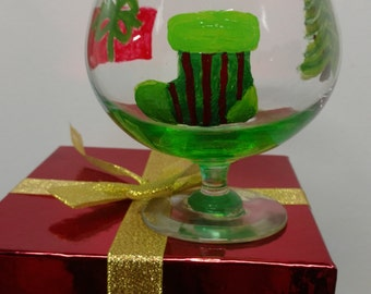 Christmas Brandy Snifter