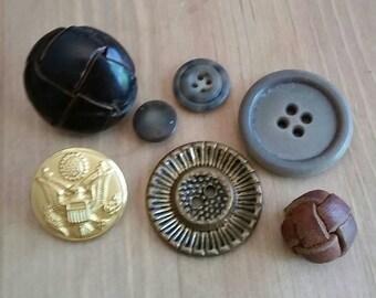 Vintage Button Lot, Brown