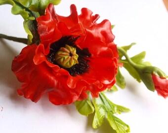 poppy brooch, hair clip, flower barrette, red poppy flower