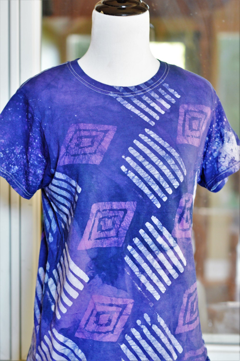 purple blue batik t shirt african tee shirt handmade. Black Bedroom Furniture Sets. Home Design Ideas