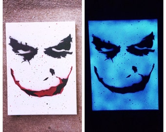 Joker Heath Ledger The Dark Knight Batman DC Comics Painting Art Paint Glow in the Dark