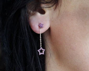 Ruby Star silver earrings