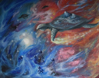 """Original Painting 70x100 cm Oil on canvas """"to dive for pearl''  Turtle"""