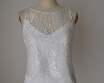 Top Wedding, off-white lace bridal blouse