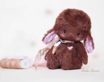 Mia - made to order artist teddy 4.3 inches mini bunny from viscouse fabric ooak toy
