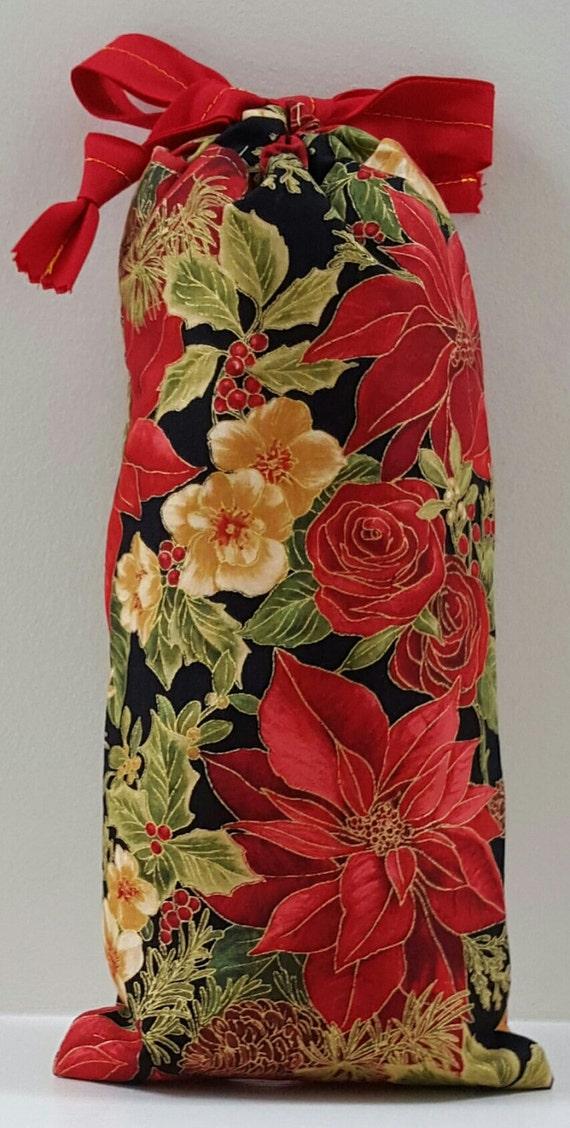 Bag Christmas Poinsettia; Drawstring Poinsettia Bag; Lined Drawstring Poinsettia Bag; Poinsettia Gift Bag