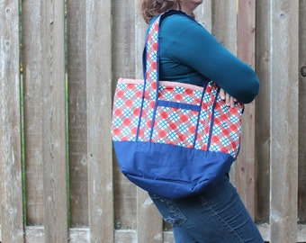 Tote Orange/Blue Plaid