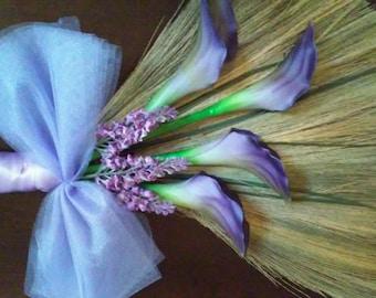 Lavender, Lilac Calla Lily Wedding Broom, Jumping Broom, African American wedding broom