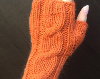 One Cable Fingerless Gloves/Hand Warmers/Manicure Gloves (Orange Mix)